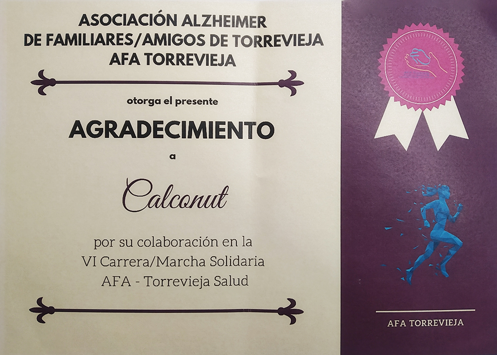 Diploma Agradecimiento AFA Torrevieja